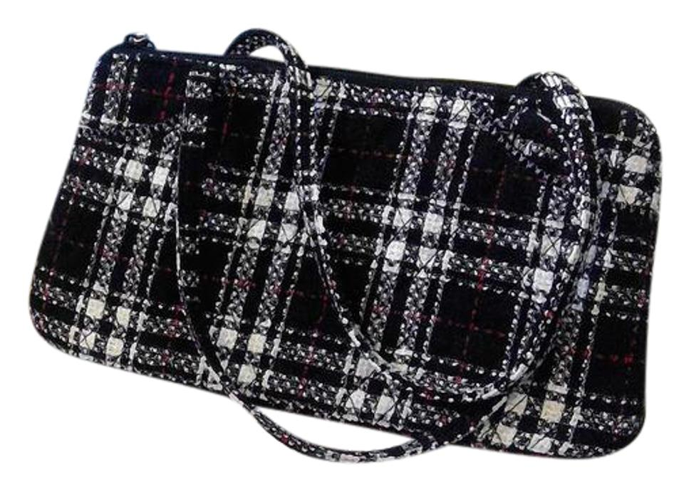55aa28e33081 Vera Bradley Purse Black White   Red Plaid Wool Clutch - Tradesy