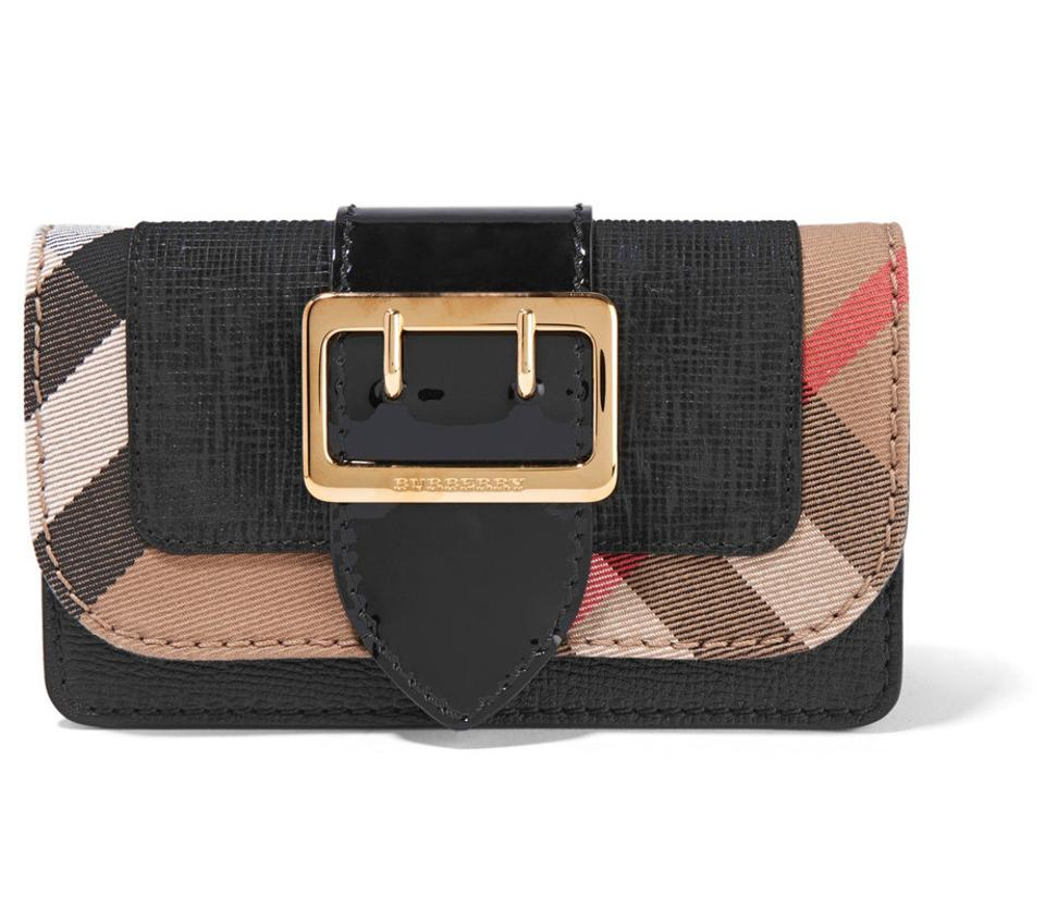 372785a560a1 Burberry Mini Buckle Black and House Check Leather Cross Body Bag ...