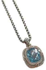 David Yurman David Yurman Blue Topaz with Diamonds Enhancer with Chain