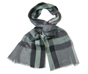 Burberry Burberry Unisex Giant Exploded Green Check Linen Crinkled Scarf