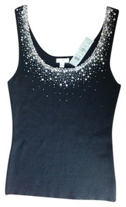 Cache New Stretchy Beads Sequins Top Black and silver