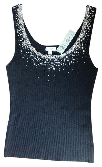 Item - New Dressy *fitted* Sleeveless Sweater with Beads/Seq Black and Silver Top