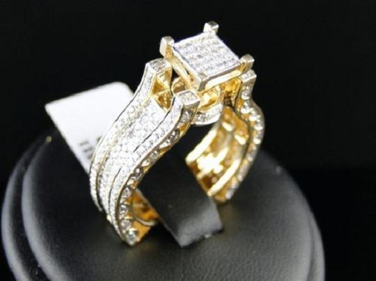 Other Bridal 14K Yellow Gold Round Pave Diamond Engagement Ring 1.10 Ct Image 1