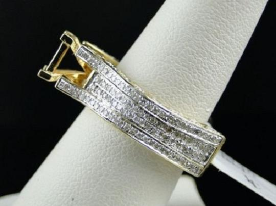 Other Bridal 14K Yellow Gold Round Pave Diamond Engagement Ring 1.10 Ct Image 3