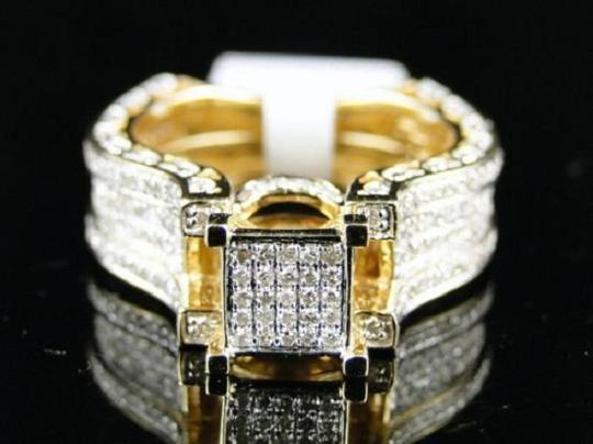 Other Bridal 14K Yellow Gold Round Pave Diamond Engagement Ring 1.10 Ct Image 6