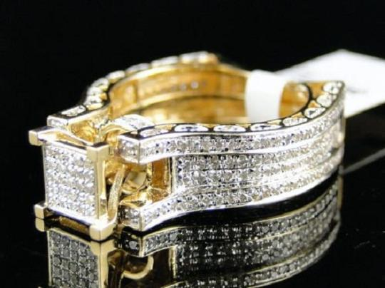 Other Bridal 14K Yellow Gold Round Pave Diamond Engagement Ring 1.10 Ct Image 8