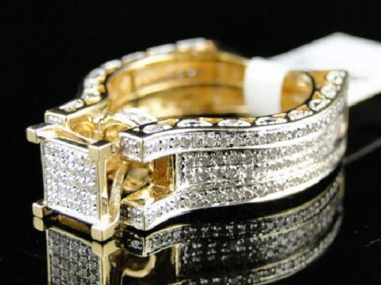 Other Bridal 14K Yellow Gold Round Pave Diamond Engagement Ring 1.10 Ct Image 9