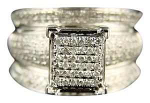 Other White Gold Finish 12Mm Wide Pave Engagement Diamond Ring