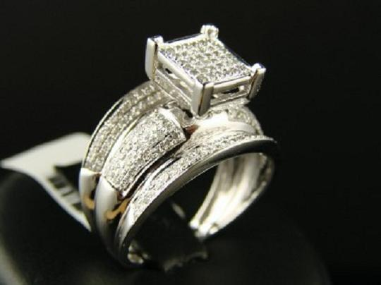 Other White Gold Finish 12Mm Wide Pave Engagement Diamond Ring Image 1