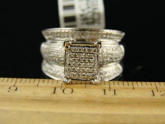 Other White Gold Finish 12Mm Wide Pave Engagement Diamond Ring Image 2