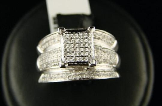 Other White Gold Finish 12Mm Wide Pave Engagement Diamond Ring Image 3