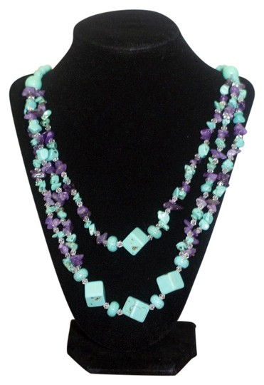 Preload https://img-static.tradesy.com/item/20849362/turquoise-and-violet-amethyst-long-necklace-0-1-540-540.jpg