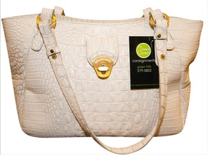 Brahmin Leather White Handbag Shoulder Bag