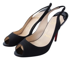 Christian Louboutin Canvas Peep Toe Black Pumps