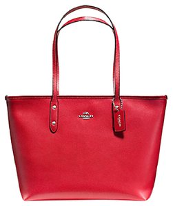 Coach 36875 Satchel 36876 Tote in Red Silver
