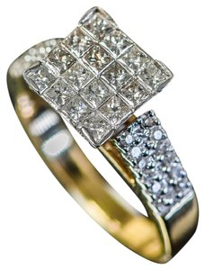 Other 14K Yellow Gold and Invisible Set Diamond Cathedral Ring