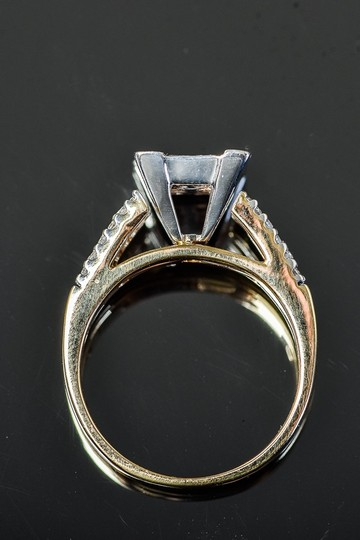 Other 14K Yellow Gold and Invisible Set Diamond Cathedral Ring Image 2