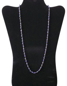 Other Lovely Lapis Lazuli Beads and White Copper Links Long Necklace
