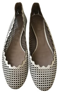 Chloé Perforated Scalloped Ballet Beige / Cream Flats