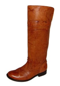 Frye Equestrian Leather Tall Marbled Cognac Riding Boots