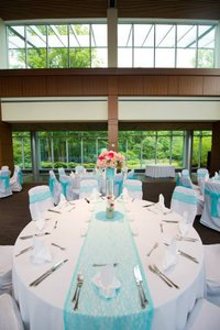 Tiffany Blue Lace Table Runners and Chair Ties- Reserved For Cary Tablecloth
