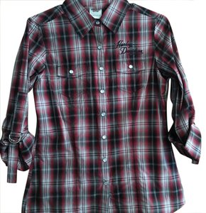 Harley Davidson Button Down Shirt Red, black, grey plaid