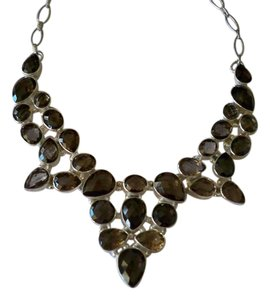 Silver Co. Stunning Smoky Quartz Statement Silver Necklace