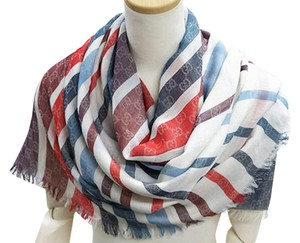 Gucci Authentic Gucci GG Logo Ivory/Red/Blue Cotton Oversized Scarf