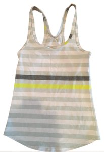Lululemon Lululemon Cool Racerback- white, grey, yellow Parallel Stripe