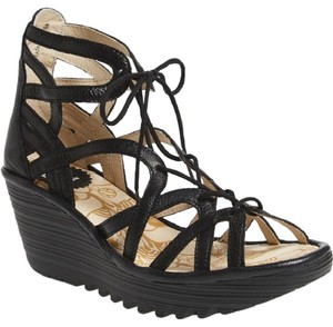 c9aa66aa FLY London Wedge Black Mousse Lace up Gladiator Sandals
