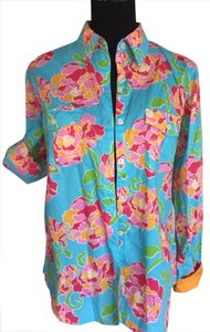 Lilly Pulitzer Button Down Shirt blue, multi