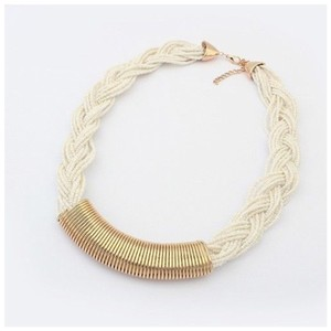 Other D7 Off White Ivory Braided Bead Strands With Gold Bar Accent Boutique Necklace