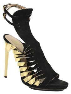 Hervé Leger Suede Black with Gold Accent Straps Sandals