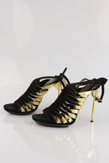 Hervé Leger Suede Black with Gold Accent Straps Sandals Image 3