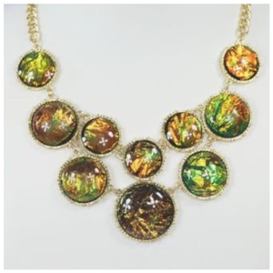 Other D5 Round Green Blue Amber Iridescent Nacre Gold Necklace Earrings Boutique