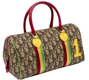 Dior Satchel in tan red yellow green