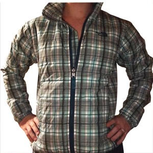 The North Face blue, plaid Jacket