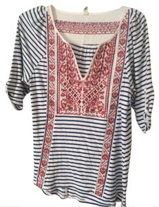 Anthropologie T Shirt Striped with multi colored tribal pattern