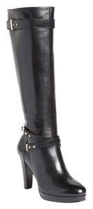 Cole Haan Nike Air Knee High Black Belted Dress Platform Boots