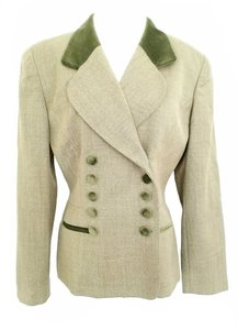 Dior Double Breasted Wool Jacket Tan and Green Blazer