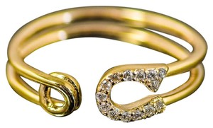 Other 14K Yellow Gold and Diamond Open Front Safety Pin Ring