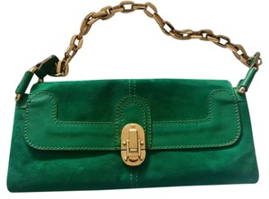 Chloé Chloe Suede Gold Vintage kelly green Clutch