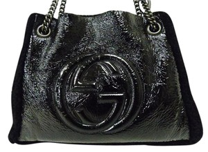 Gucci Fur Patent Leather Dionysus Sylvie Tote in Black
