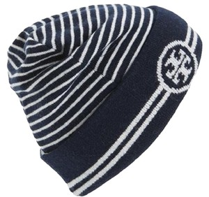 Tory Burch New Tory Burch Logo Reversible Beanie Blue