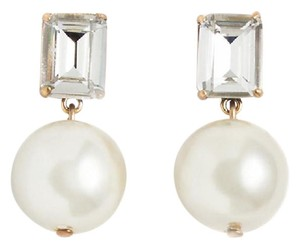 J.Crew NEW J. CREW GEM PEARL EARRINGS RECTANGULAR CRYSTALS GLASS