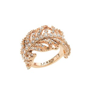 J.Crew NEW Crystal JCrew Feather Ring size 7