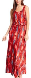 orange-red and blue Maxi Dress by Ella Moss