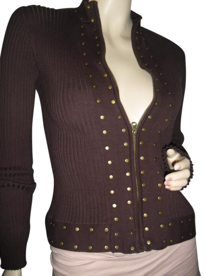 40a0b0971d2 Tracy M Brown Gold Rib Knit Zip Up Front Zipper Stud Bodycon Bodyfit  Cardigan Size 6 (S) 54% off retail