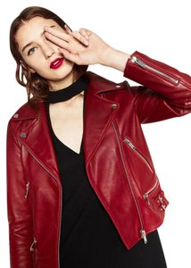 Zara Quilted Leather Zipper Strap Motorcycle Red Leather Jacket