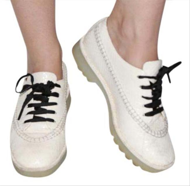 Item - Cream Riley Ivory White Snakeskin Leather Lace Up Loafers Flats Size US 8.5 Regular (M, B)